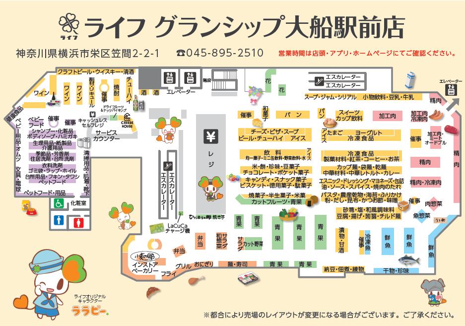 ライフグランシップ大船駅前店配置図